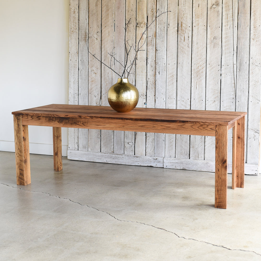 Modern Reclaimed Plank Dining Table / L Shaped Legs