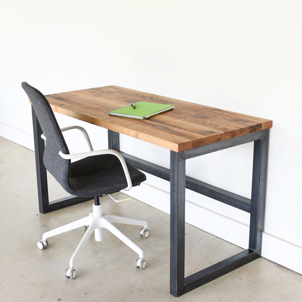 industrial reclaimed wood desk 2 x 2 metal frame what we make rh wwmake com metal and wood desk chair metal and wood desk with shelves