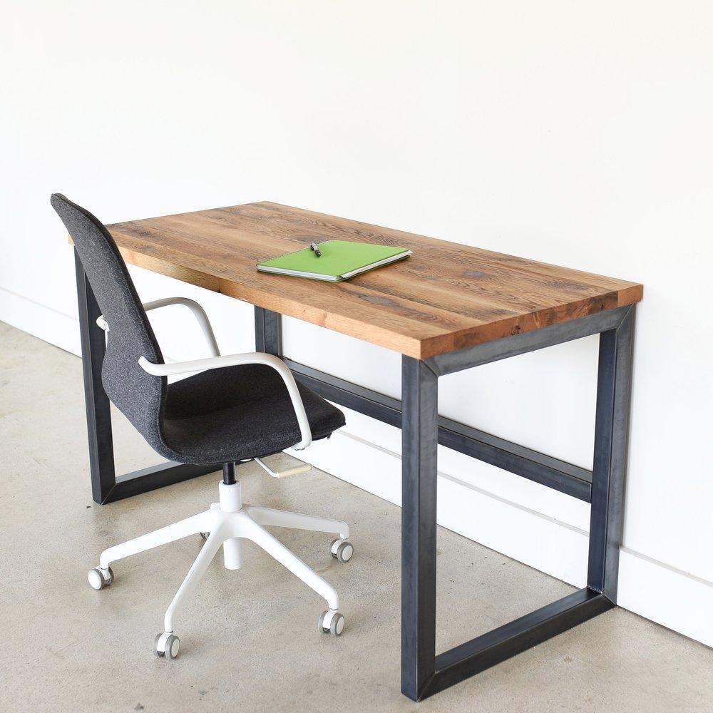 Reclaimed Barn Wood Desk / Industrial Metal Frame