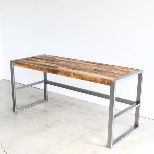 Reclaimed Wood Patchwork Desk / Metal Frame Base - WHAT WE MAKE