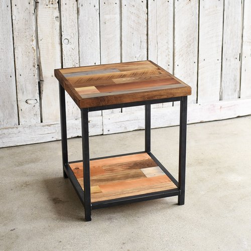Reclaimed Wood Patchwork End Table Lower Shelf What We Make