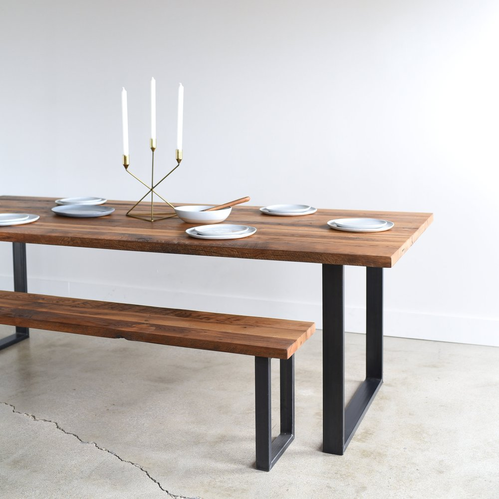 Ragana Reclaimed Timber Dining Table With Bench 3 Dining: Industrial Modern Dining Table / U-Shaped Metal Legs
