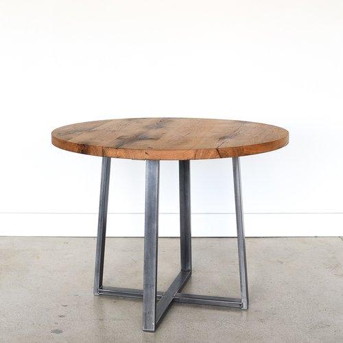 Round Oak Kitchen Tables Round kitchen table steel criss cross base what we make round kitchen table steel criss cross base workwithnaturefo