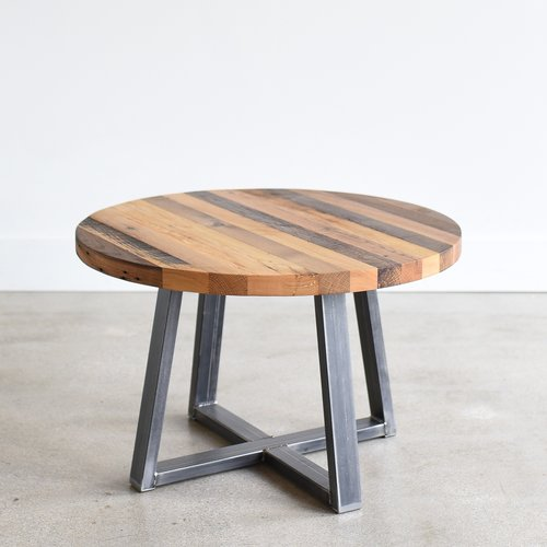 Round Reclaimed Butcher Block Coffee Table WHAT WE MAKE - Round block coffee table