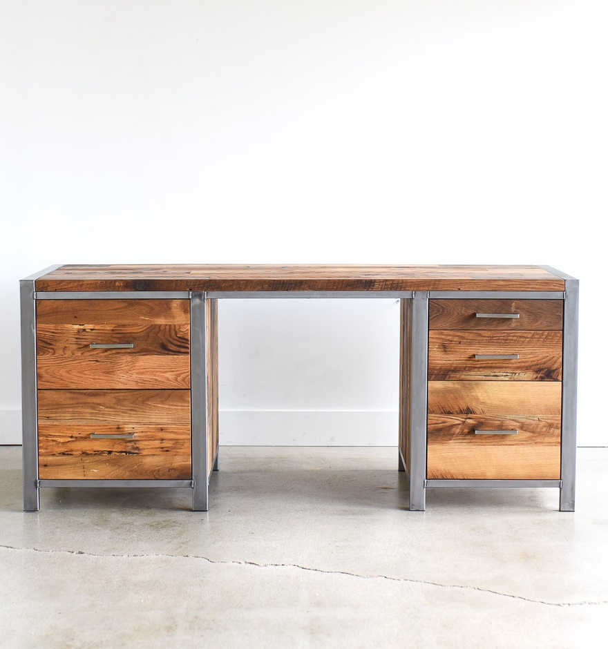 Industrial Modern Desk / 5 Drawer
