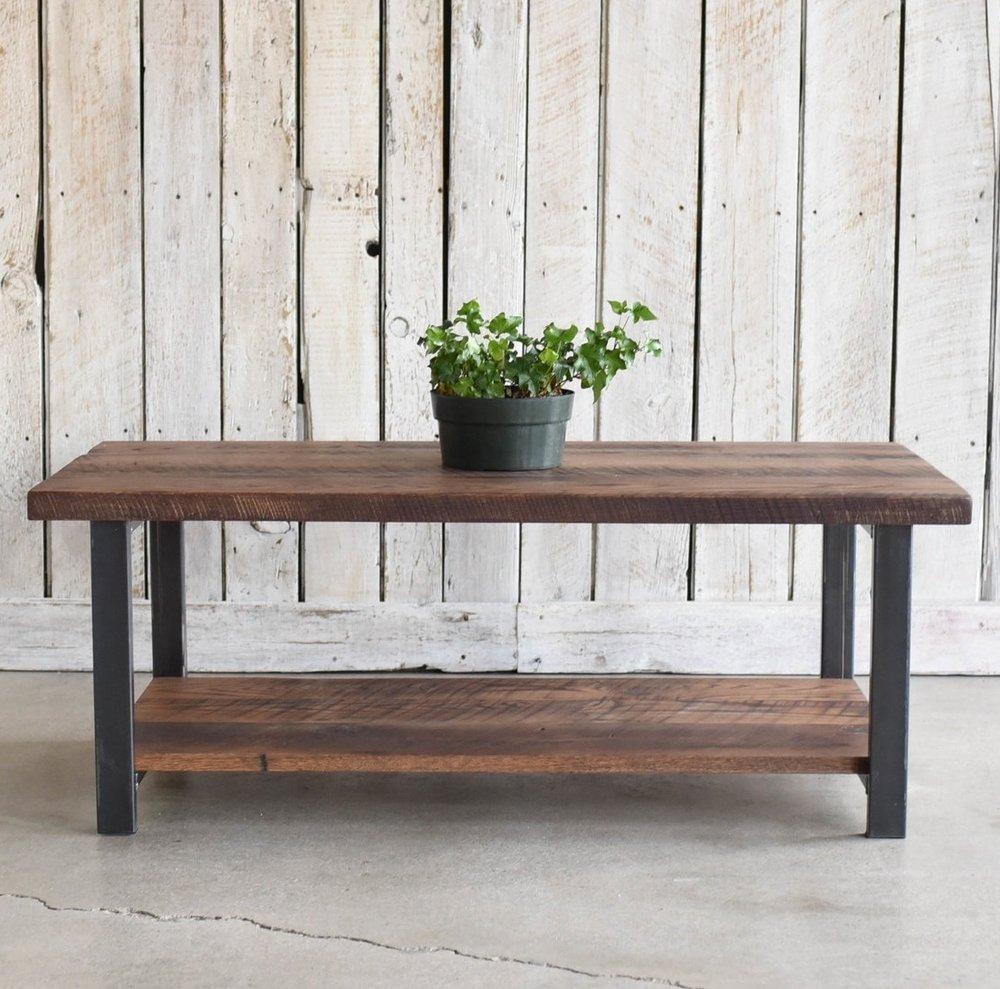 Industrial Reclaimed Wood Coffee Table / Lower Shelf