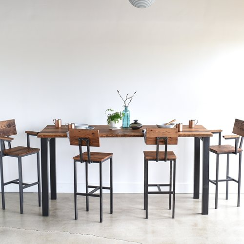 Pub height reclaimed wood kitchen table steel post legs what we make pub height reclaimed wood kitchen table steel post legs workwithnaturefo