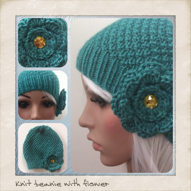 finished  knit double moss stitch hat with flower - Jenn Likes Yarn 0266342dc42