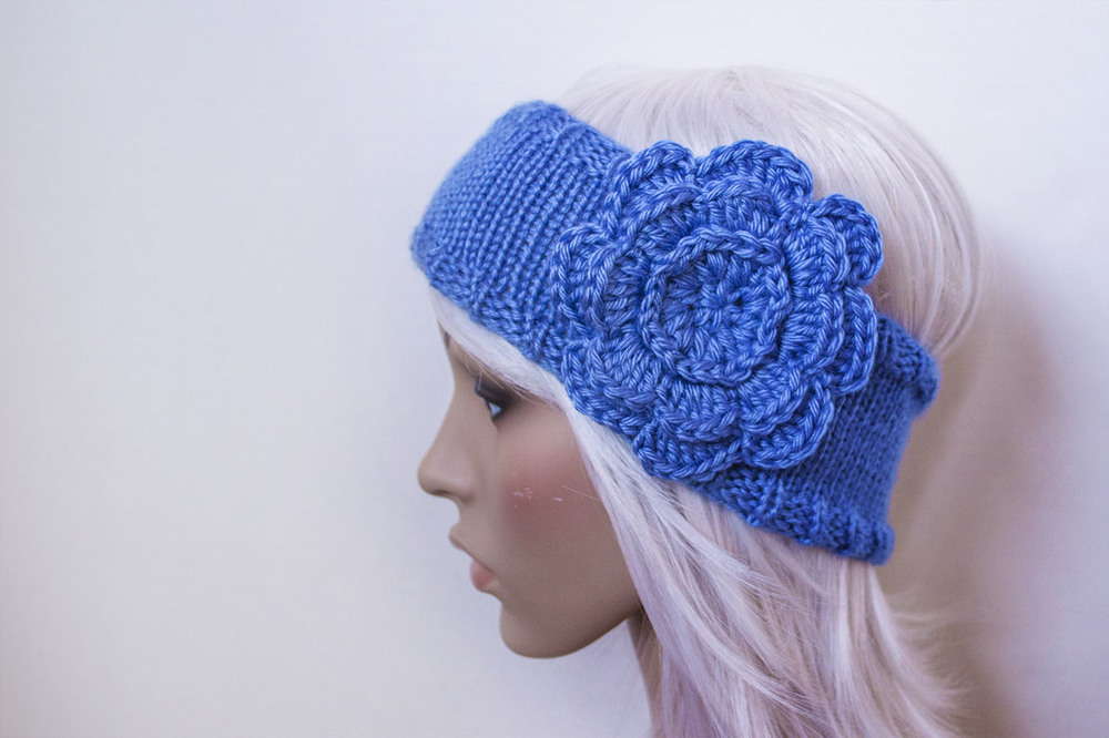 Finished Custom Blue Knit Headband Flower Jenn Likes Yarn