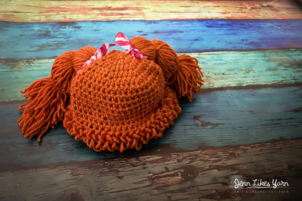Finished Orange Cabbage Patch Inspired Pigtails Crochet Hat Jenn