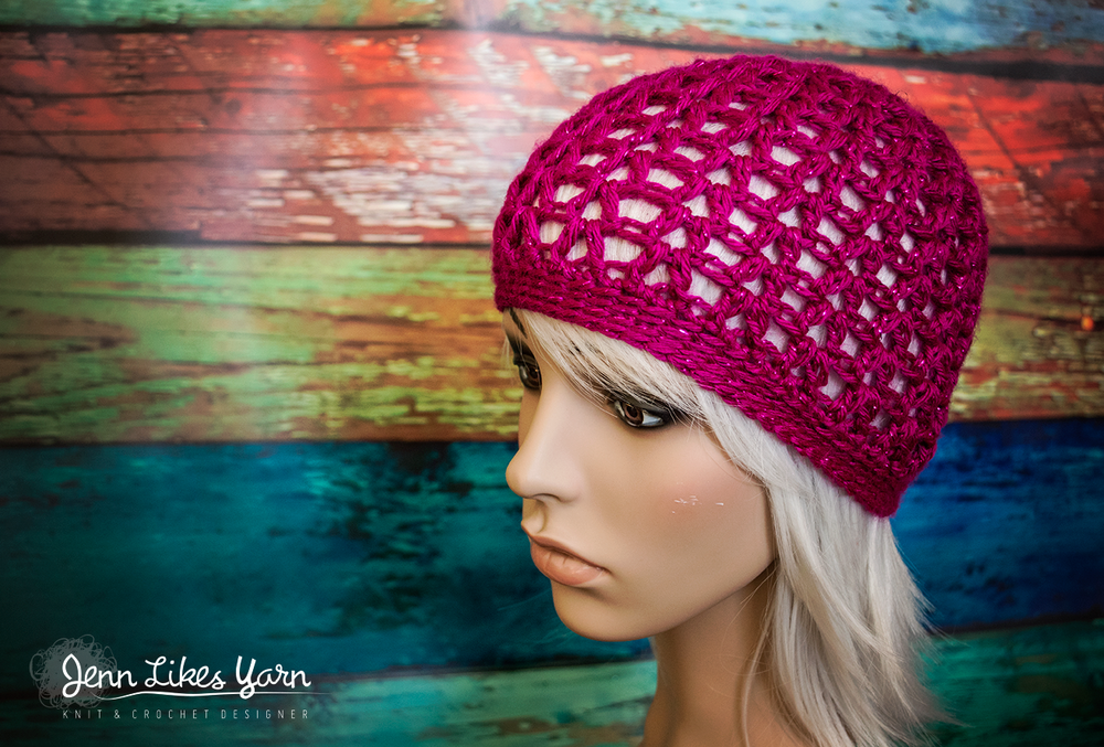 Free Crochet Pattern Really Easy V Stitch Beanie Jenn Likes Yarn