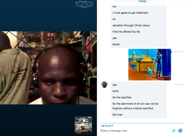 I meet with Timothy (Kenya) every Monday morning for theological training via Skype.