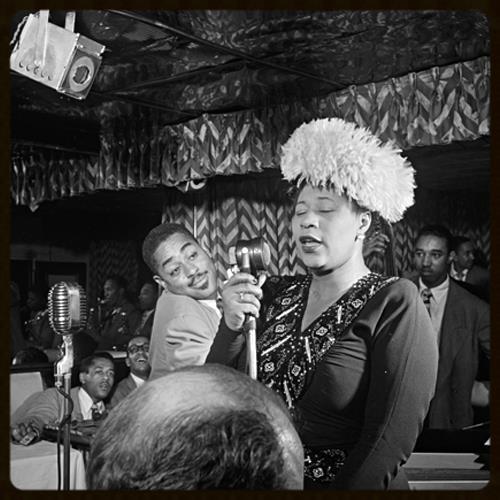 Portrait of Ella Fitzgerald, Dizzy Gillespie, Ray Brown, Milt (Milton) Jackson, and Timmie Rosenkrantz, at the Downbeat, New York, ca. 1947