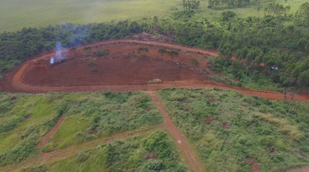 Aerial view of land after clearing