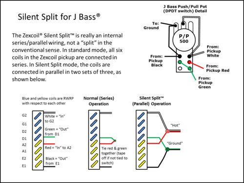 silent split™ wiring for j bass�