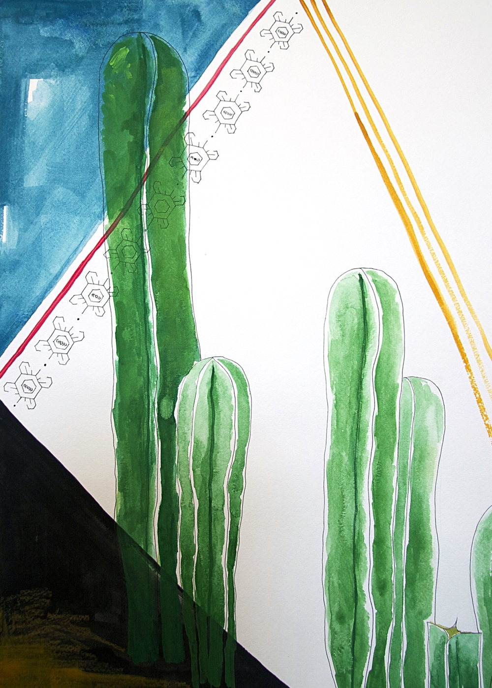 a sonoran night, he says \\ 18x24 mixed media on paper  #mysortofgreenthumb   >> S H O P <<