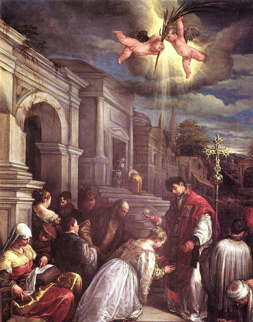São Valentim batizando Santa Lucila. Jacopo Bassano