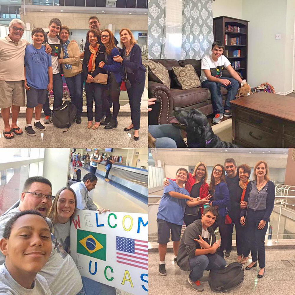 """Lucas com a família no aeroporto, sendo aguardado pela sua """"host family"""" e já em sua nova casa!"""