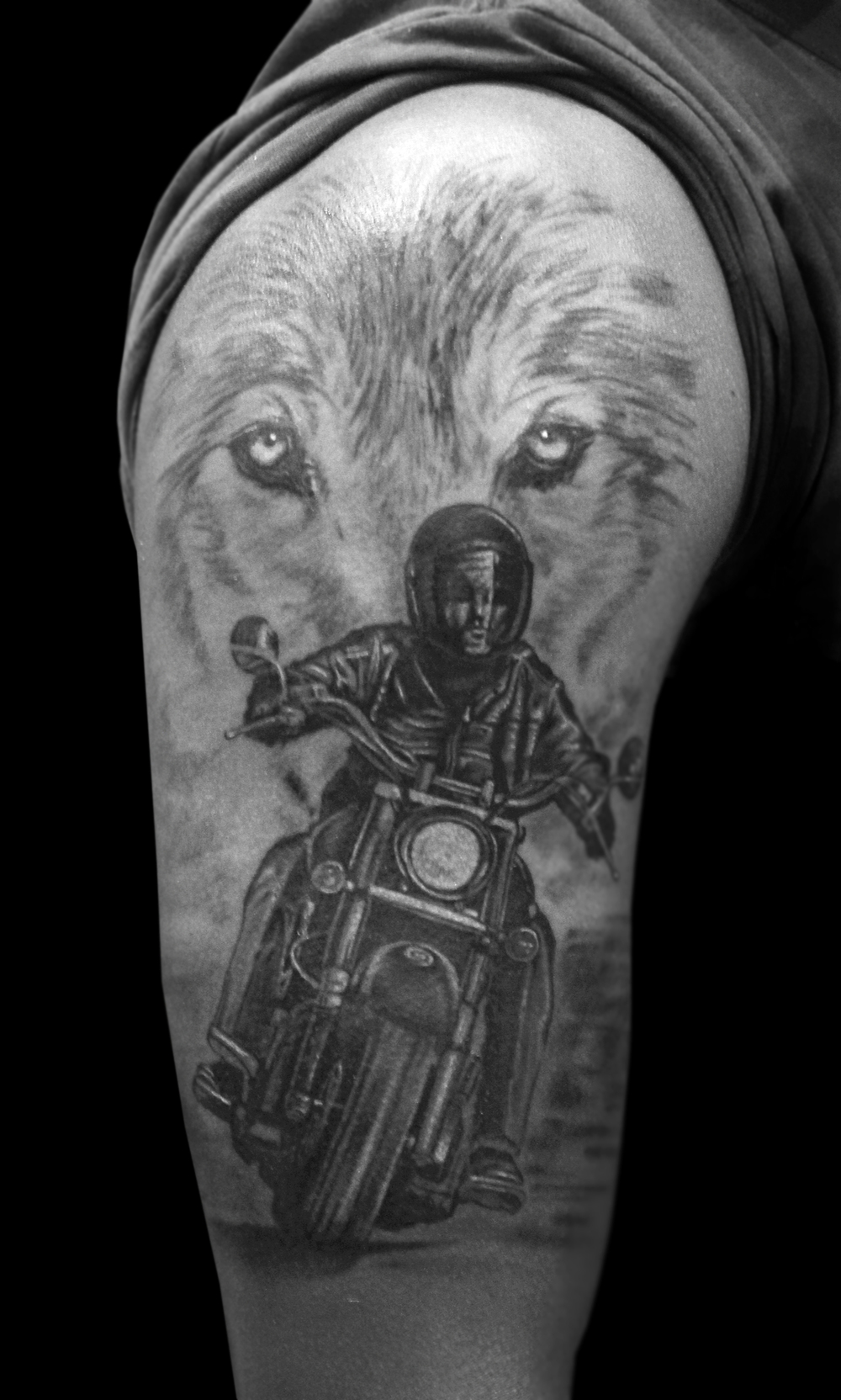 Harley Davidson and Wolf Tattoo