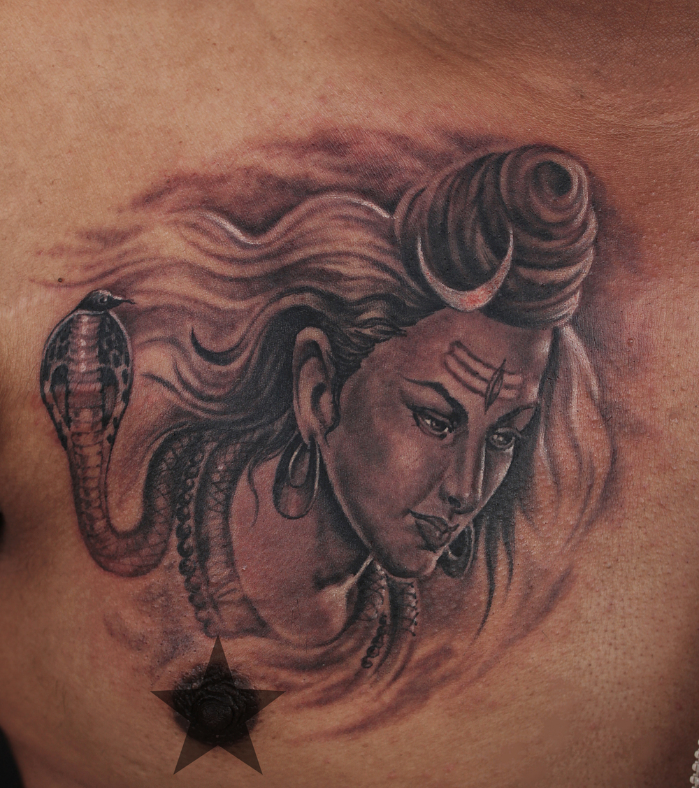 Lord Shiva Portrait Tattoo on chest