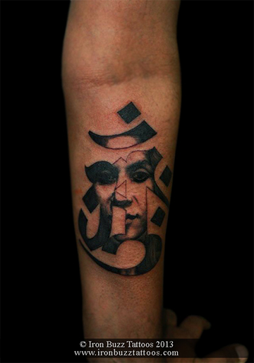 Om with portrait of Wife tattoo