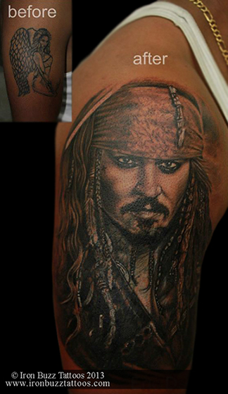 Jack Sparrow cover-up tattoo