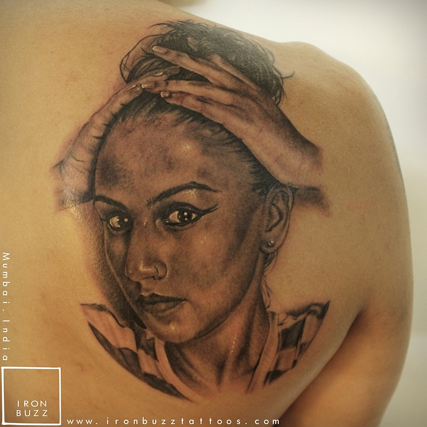 Beautiful portrait tattoo of Wife