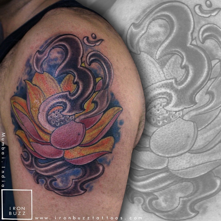 Lotus & Om tattoo