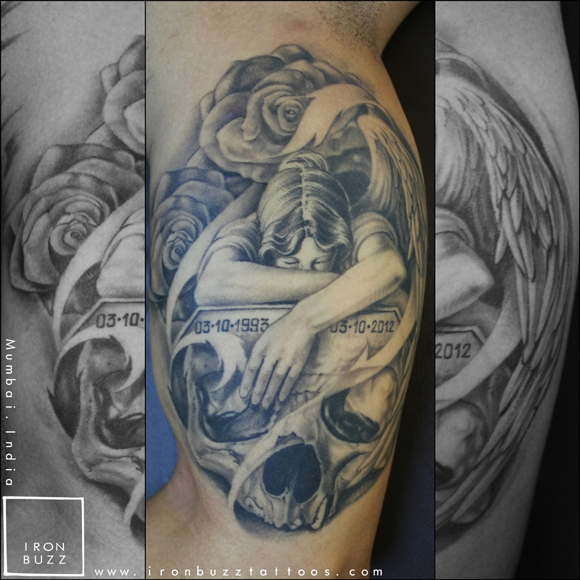 Memorial Tattoo - Roses, Angel & Skull