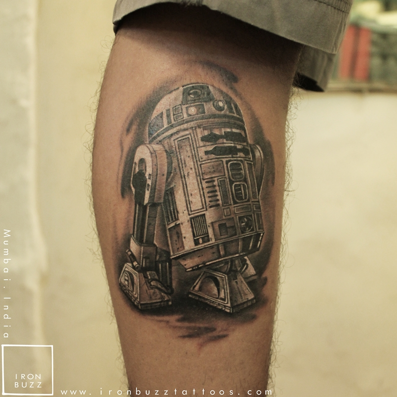 R2D2 tattoo done on Star Wars Day (May the 4th)