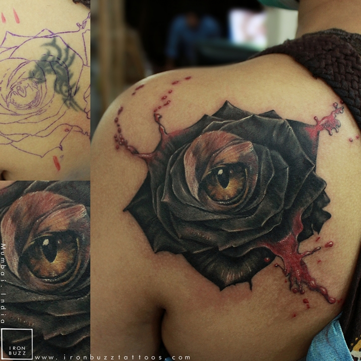 Rose and Cat Eye- Coverup Tattoo
