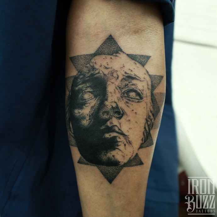 Cover-up Tattoo: Dotism Portrait with Sacred Geometry