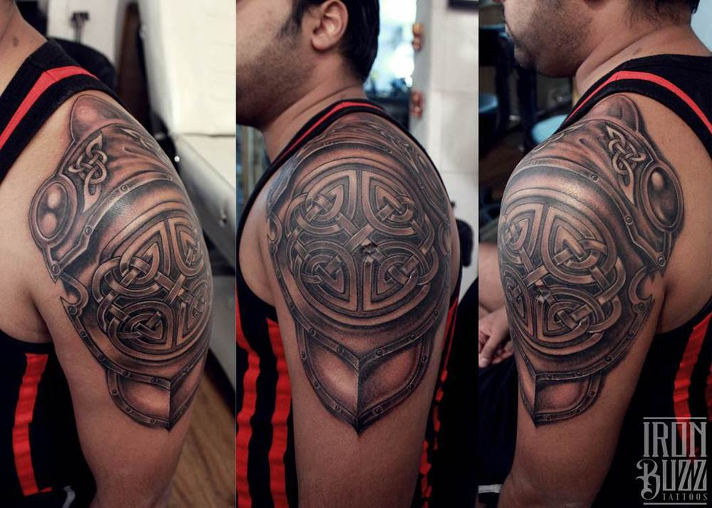 Knight's Armour on shoulder Tattoo