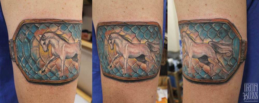 Horse with Snake scales Arm Band tattoo