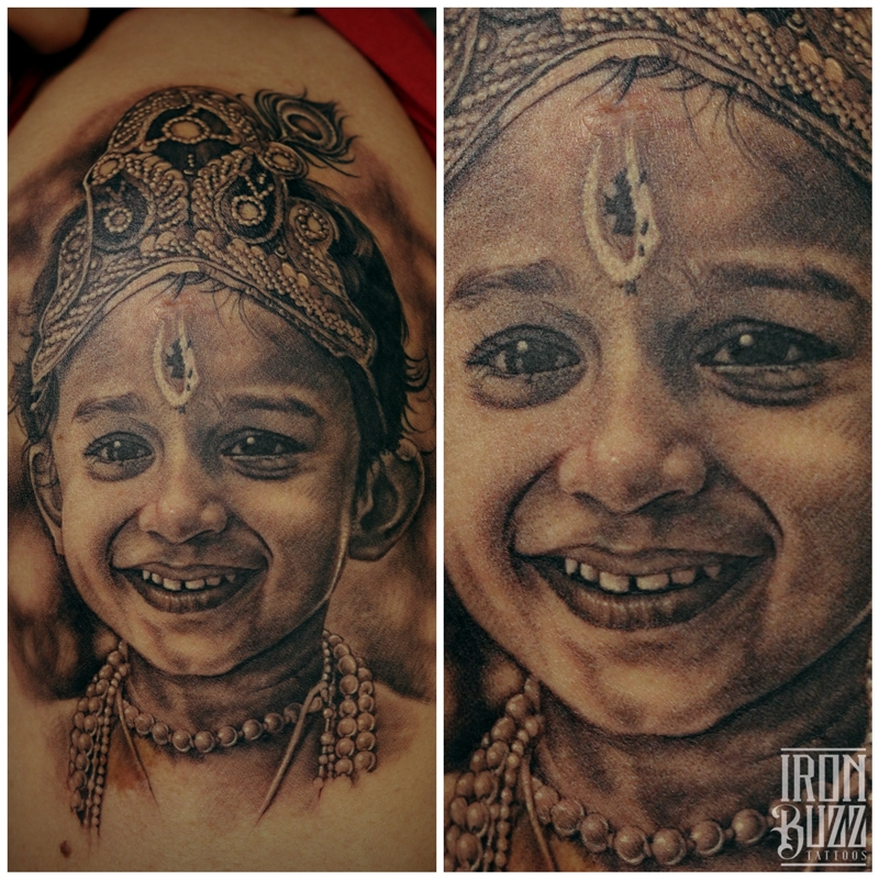Cute Son Portrait tattoo by Eric
