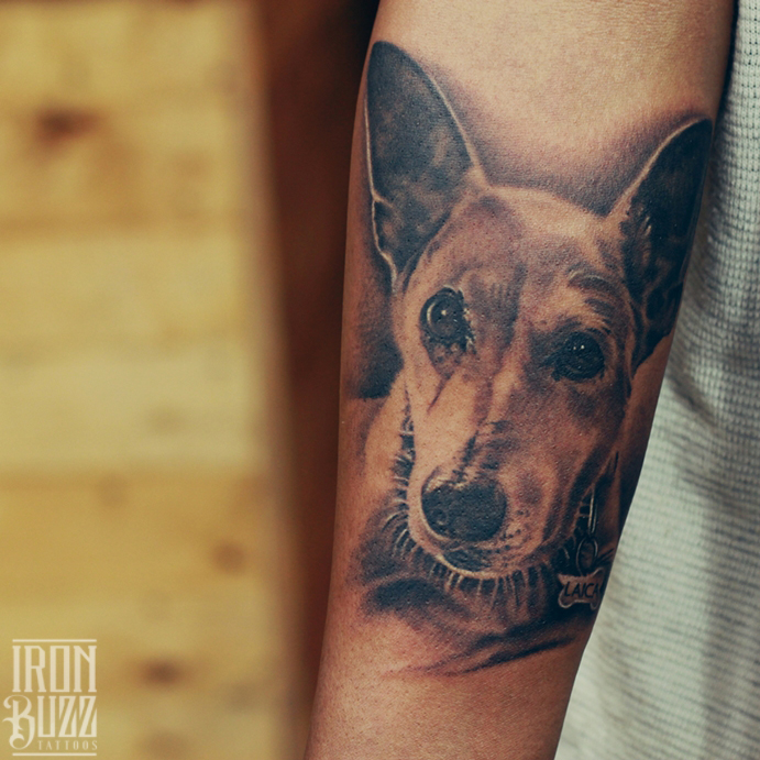 Portrait tattoo of a Dog by Eric Jason Dsouza