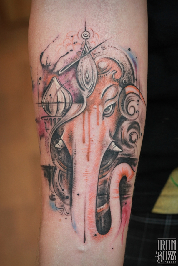 Watercolor style Lord Ganesha tattoo by Eric
