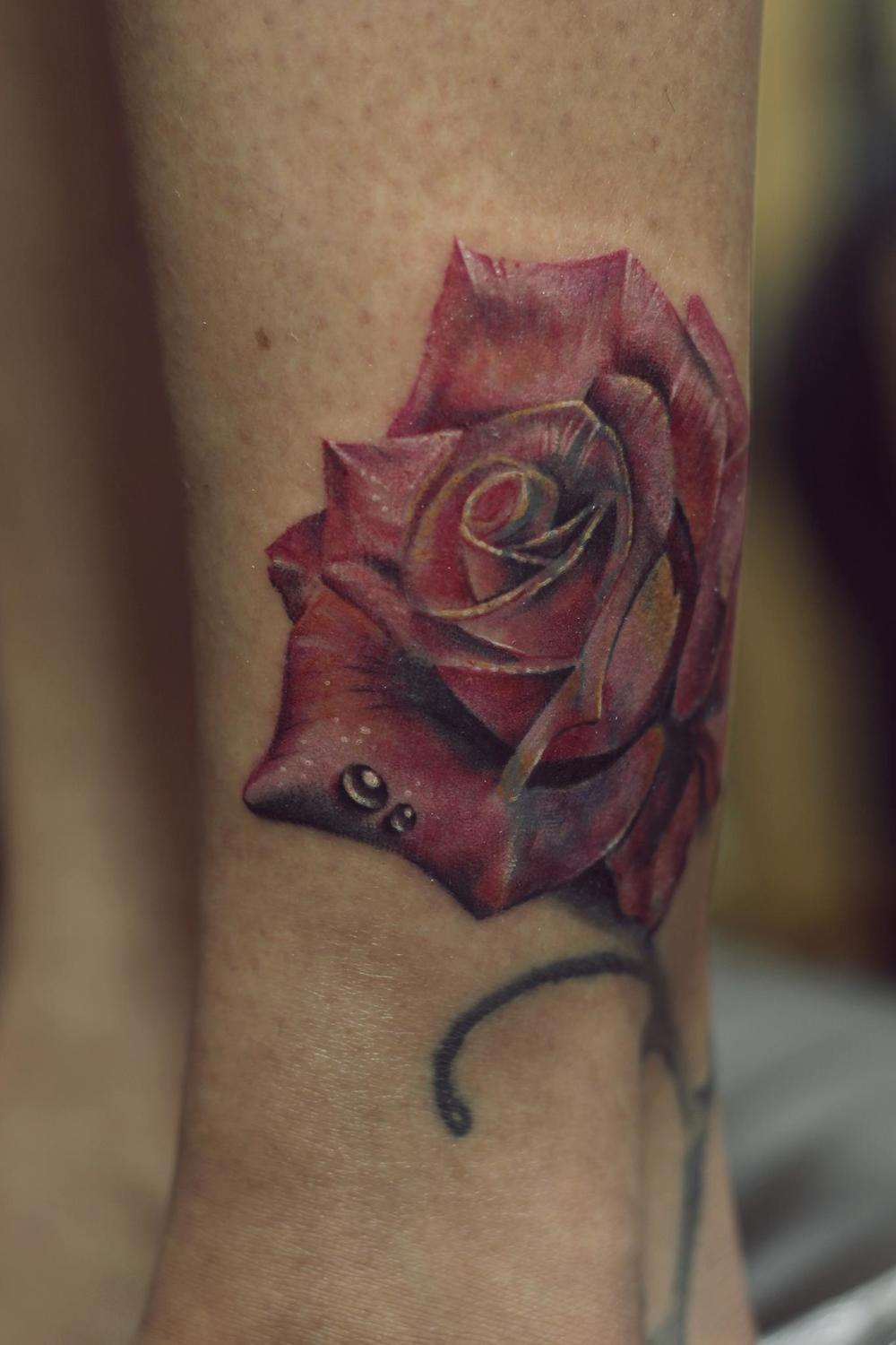 Realistic Rose - Cover up Tattoo by Eric Jason Dsouza