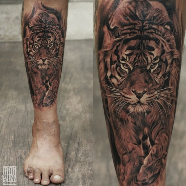 Realistic Tiger portrait tattoo by Eric