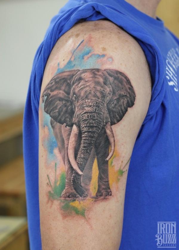 24f4c7cf1 ... tattoo by Eric Hyper Realistic portrait of Nelson Mandela Realistic  Elephant with watercolour splash ...