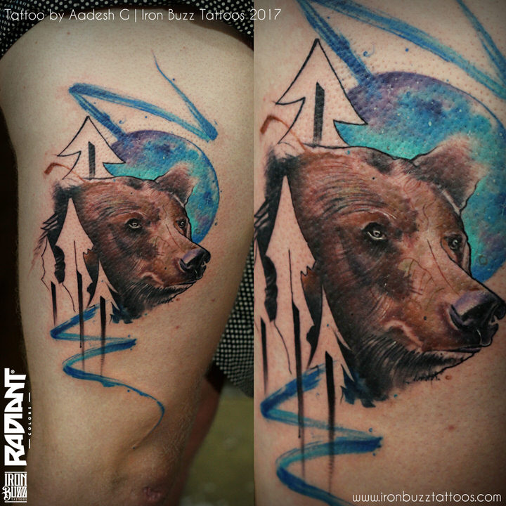 abstract-watercolour-bear-forest-wild-tattoo-iron-buzz-tattoos-in-mumbai-india
