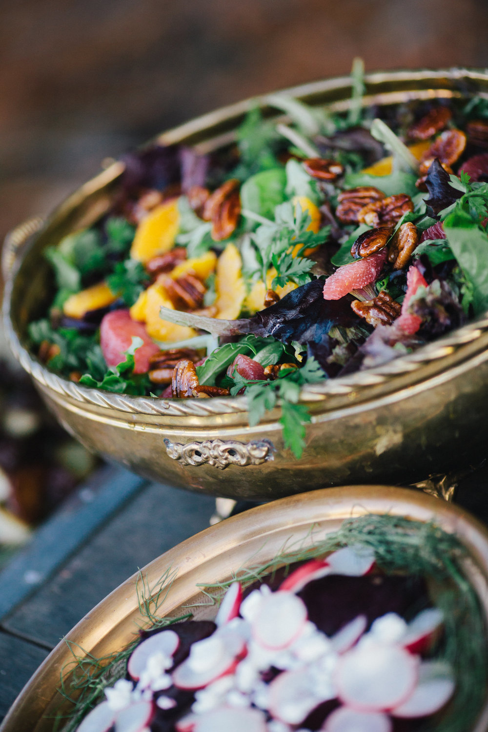 Candied walnut and citrus herb salad
