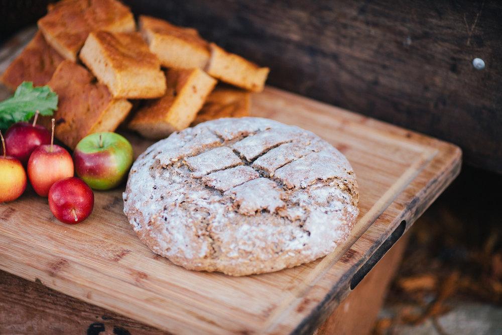 Tomato foccacia and Multiseed wholegrain loaf