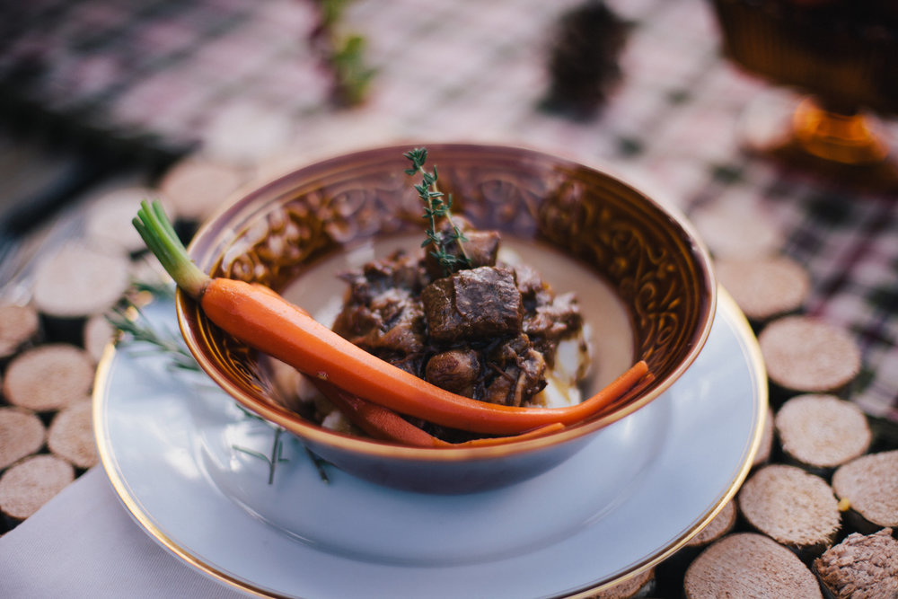 Beef and oyster stout stew with honey glazed carrots