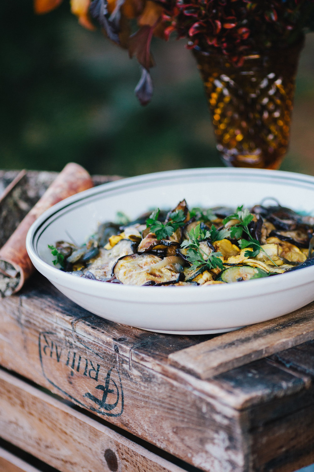 Grilled yellow and green zucchini, and egg plant salad