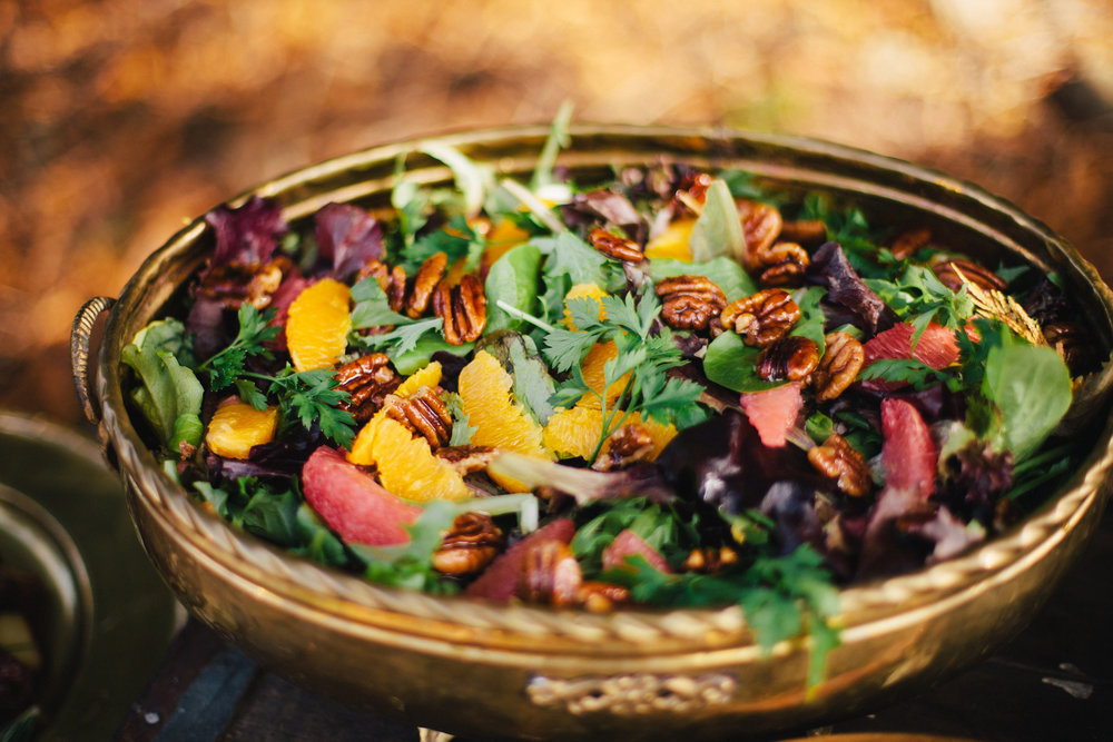 Candied walnut and citric herb salad