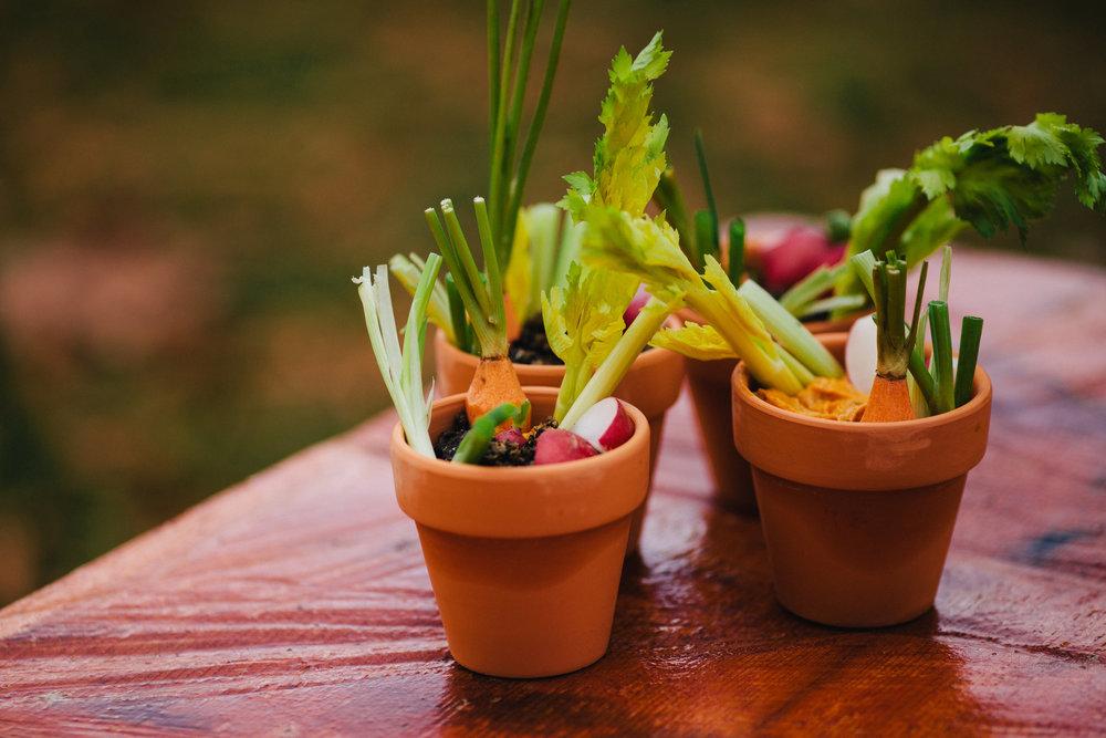 """Flower pot crudites - in a """"soil"""" of smoked sweet potato dip"""