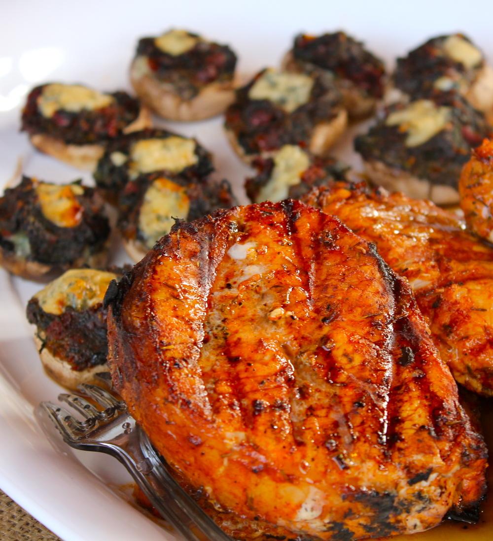 Hickory smoked pork chops; herb and pecorino stuffed mushroom bites