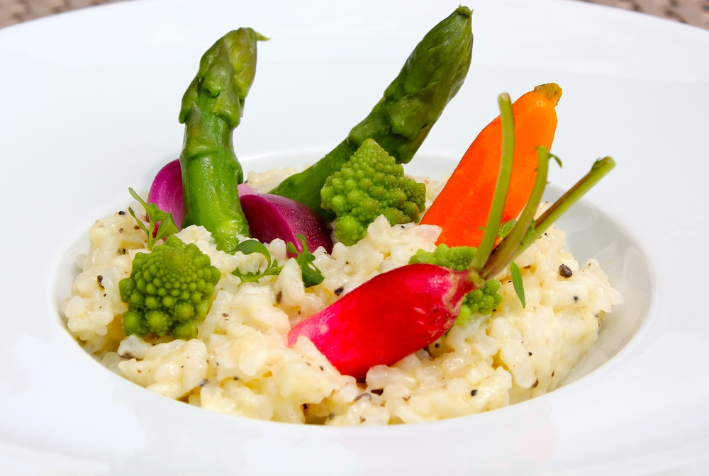 Truffle risotto with young summer vegetables