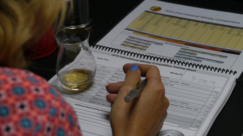 Debbi Peek filling her tasting sheet